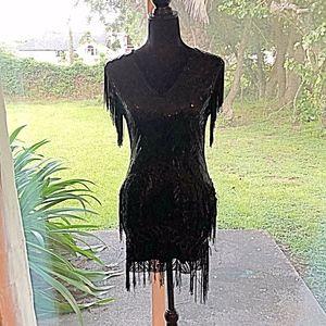 Babeyond Black Sequin Costume Mini Dress XS